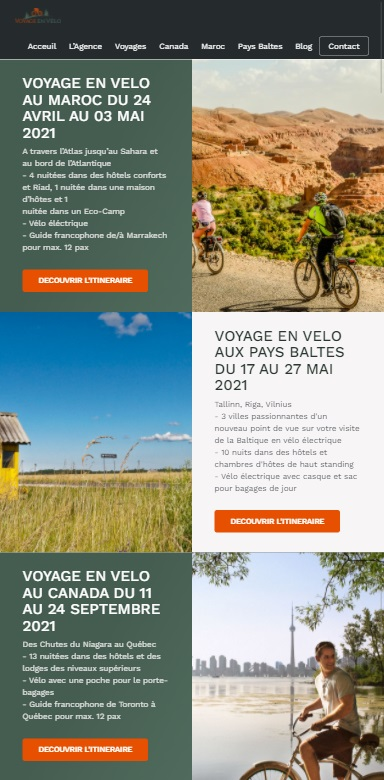 Voyage en vélo site version tablette