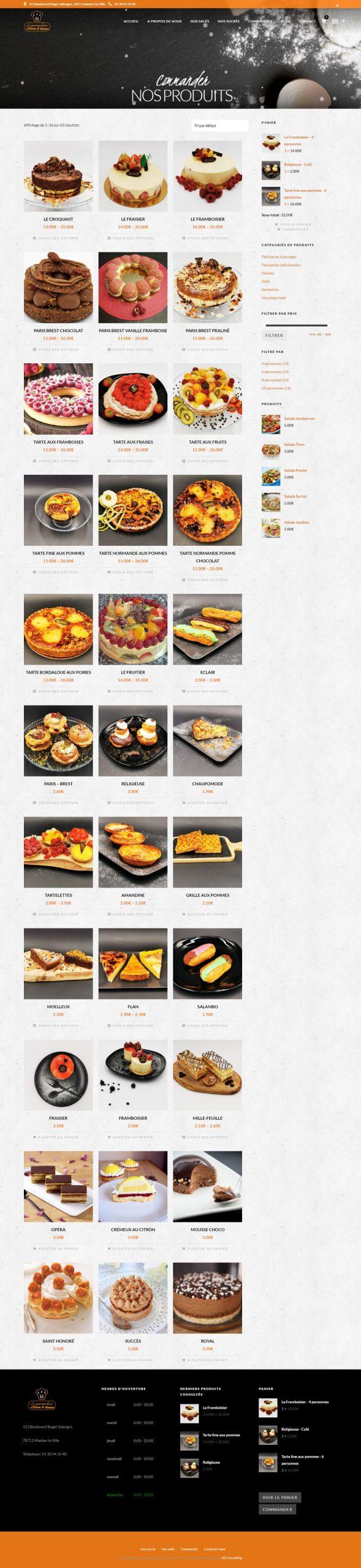 Page Boutique Gourmandises