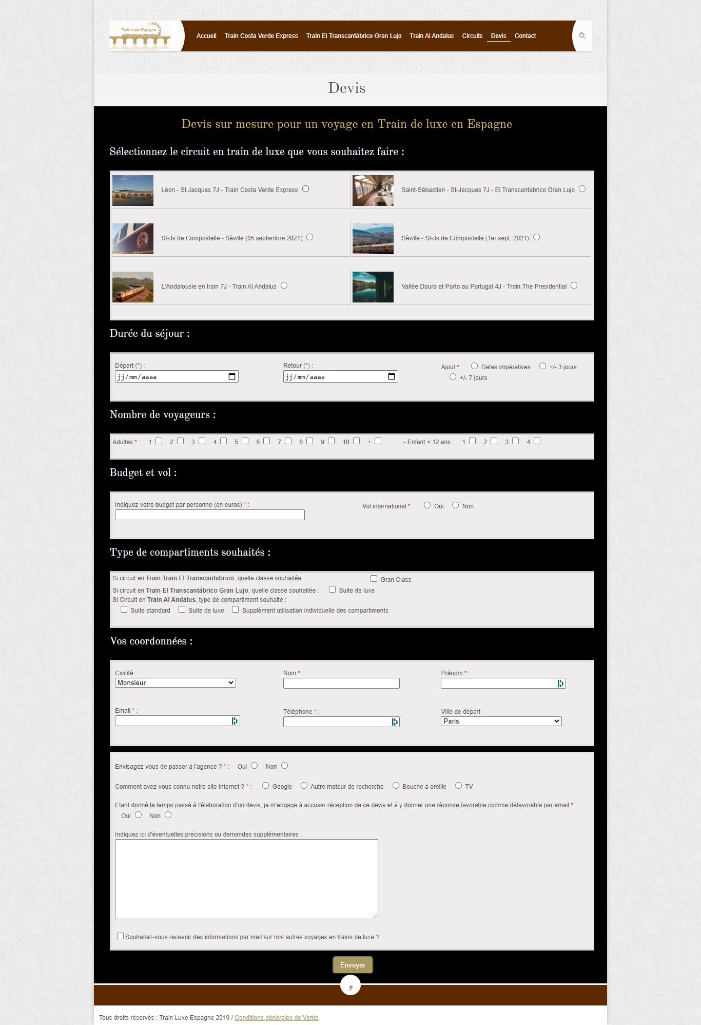 Page Devis Train Luxe Espagne